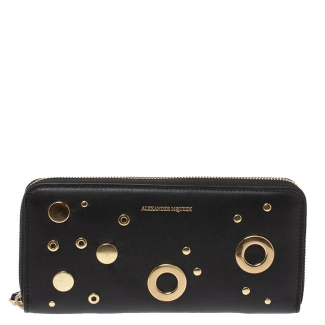 Item - Black Leather Eyelet Zip Around Wallet