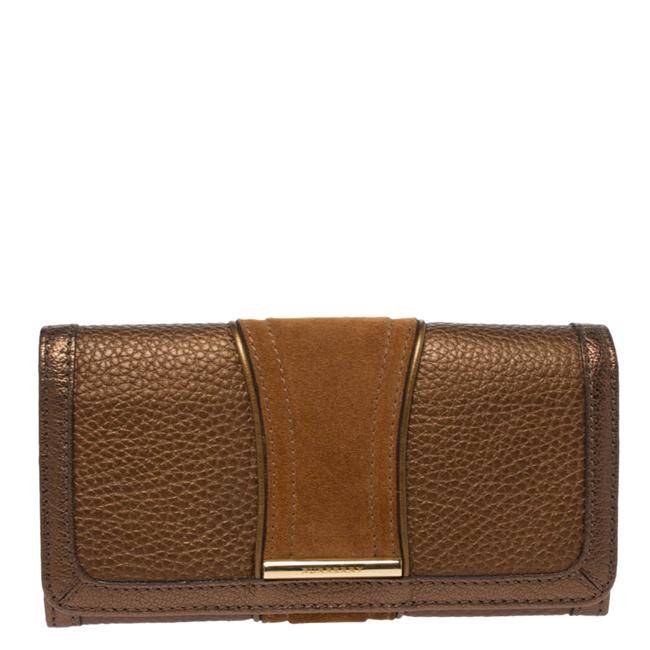 Item - Metallic Brown Leather and Suede Continental Wallet