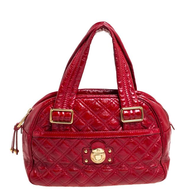 Item - Red Quilted Patent Leather Pushlock Satchel