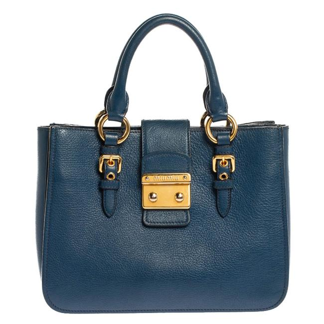 Item - Blue Textured Leather Medium Madras Tote