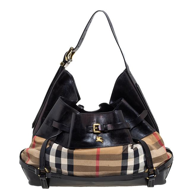 Item - Black/Beige House Check Canvas and Leather Bridle Hobo Bag