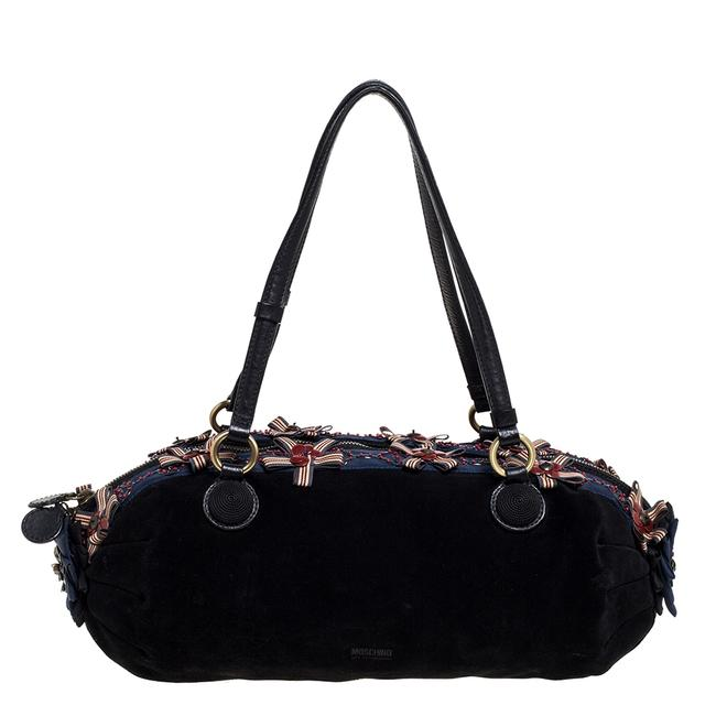 Item - Black/Blue Suede and Fabric Bow Embellished Satchel