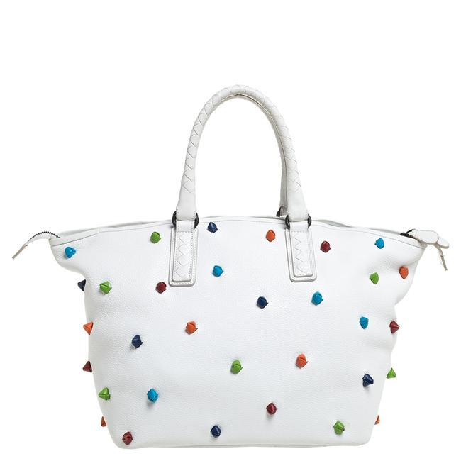 Item - White Leather Toggle Tote