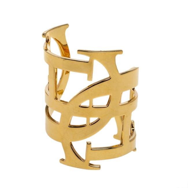 Item - Initial Gold Tone Wide Open Cuff Bracelet Jewelry
