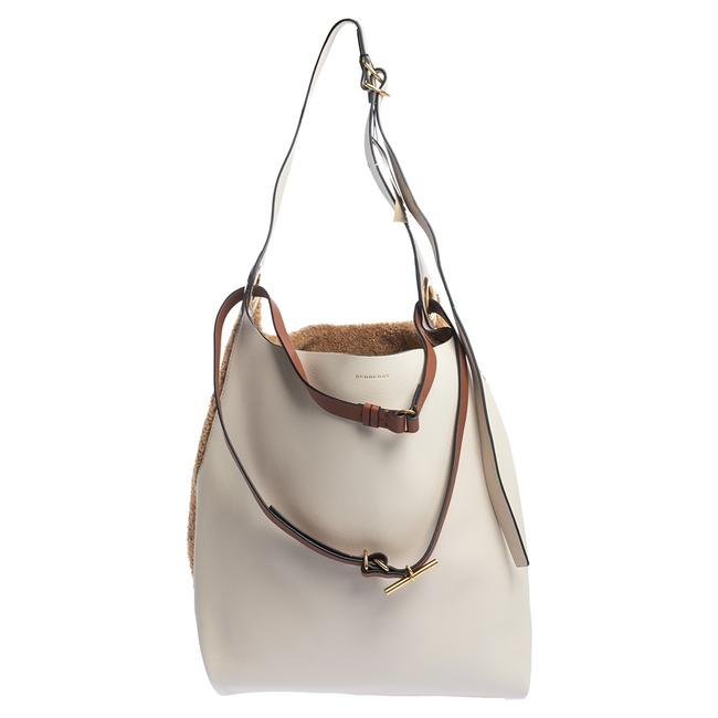 Item - Beige/Brown Leather and Fabric Medium Grommet Hobo Bag