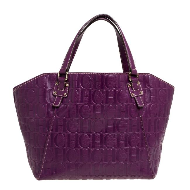 Item - Open Purple Embossed Leather Tote