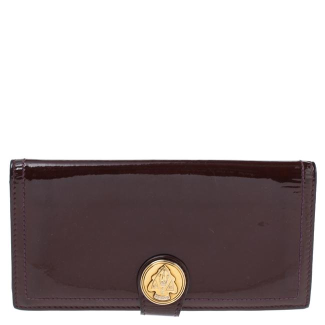 Item - Hysteria Burgundy Patent Leather Flap Wallet Clutch