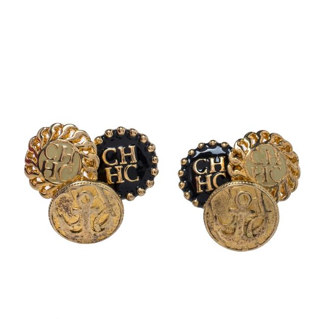 Item - Gold Tone Enamel Logo Stud Earrings Jewelry
