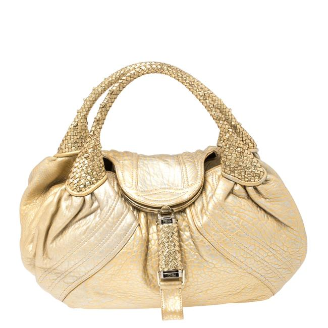 Item - Gold Holographic Textured Leather Spy Hobo Bag