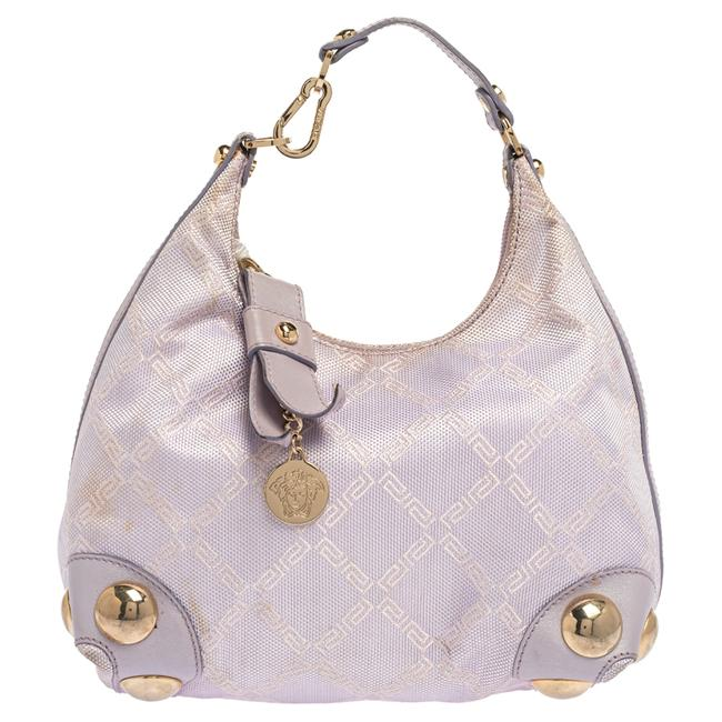 Item - Lilac Signature Canvas and Leather Small Studded Hobo Bag