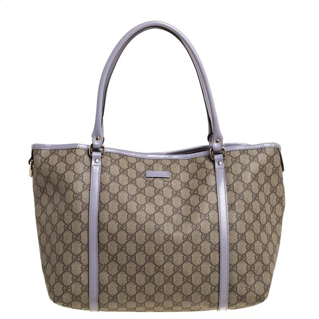 Item - Beige/Lavender Gg Supreme Canvas and Patent Leather Medium Joy Tote