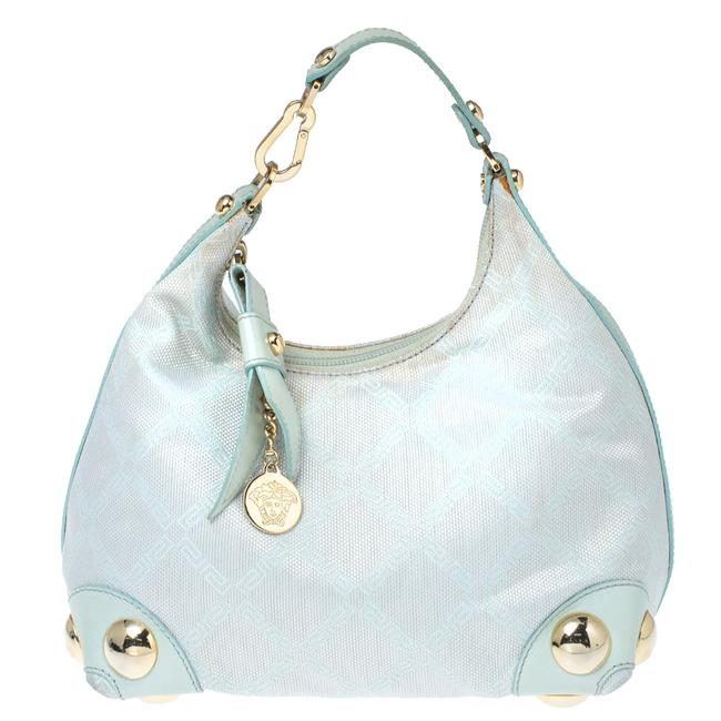 Item - Light Turquoise Signature Canvas and Leather Small Studded Hobo Bag