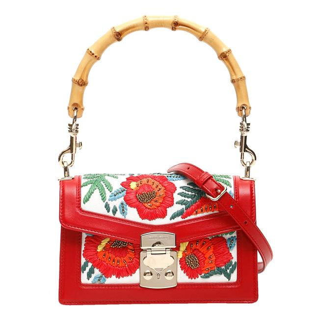 Item - Red Leather Bamboo Embroidered Hemp Medium Bag Wristlet