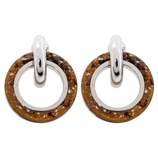 Item - Caramel Marbled Resin Palladium Plated Double Grommet Earrings Jewelry