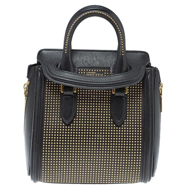 Item - Black Leather Mini Studded Heroine Bag Satchel