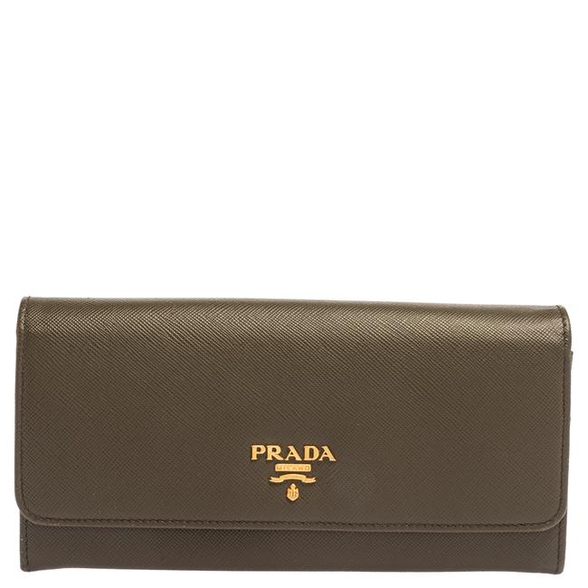 Item - Lux Olive Green Saffiano Leather Flap Continental Wallet