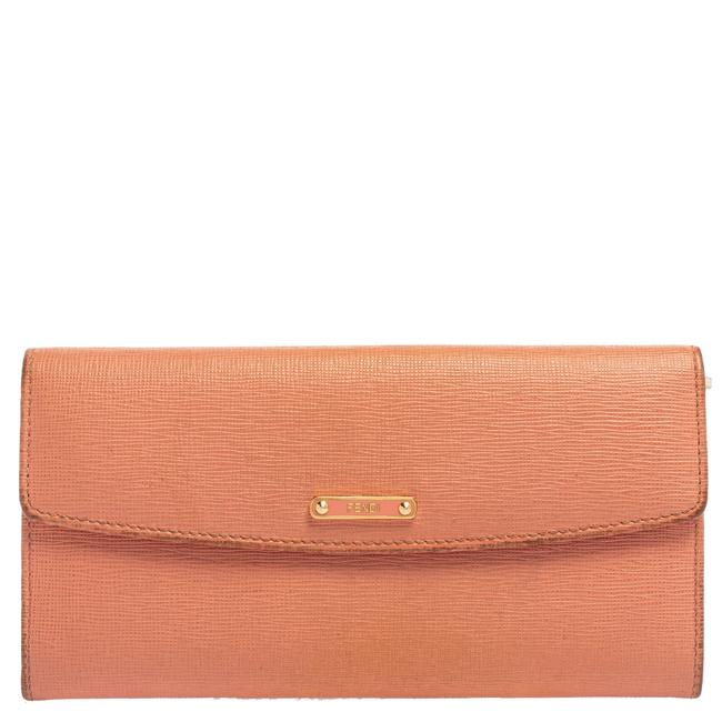 Item - Peach Leather Logo Flap Continental Wallet