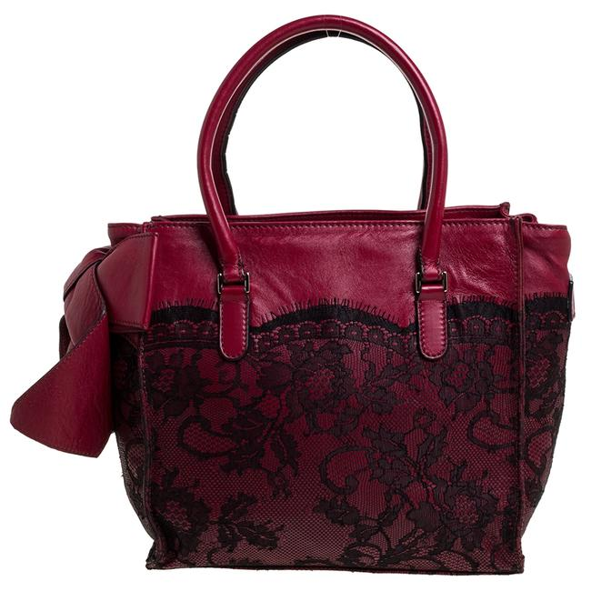 Valentino Red/Black Leather and Lace Bow Tote Valentino Red/Black Leather and Lace Bow Tote Image 1