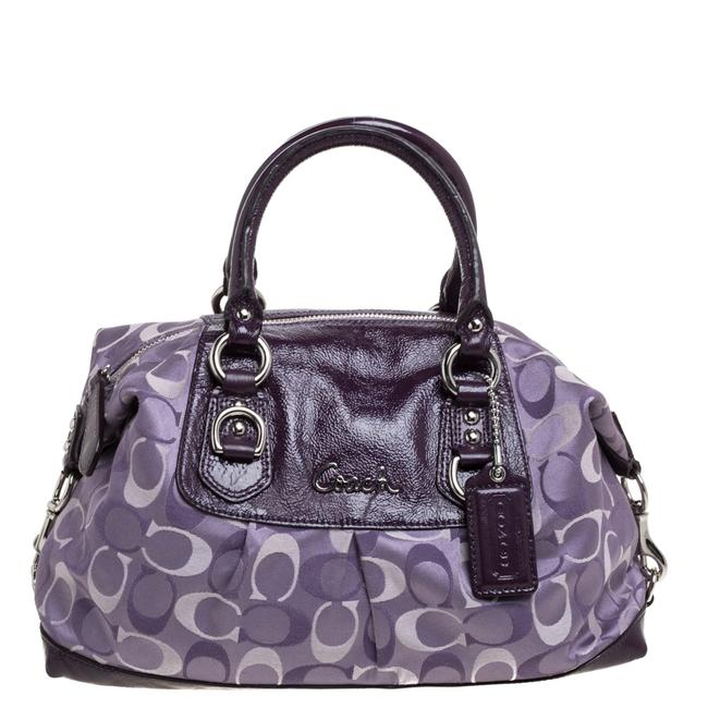 Item - Ashley Two Tone Purple Signature Fabric and Patent Leather Satchel