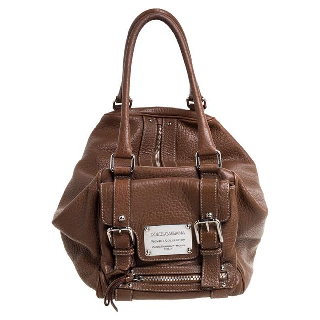 Item - Dolce & Gabbana Brown Grained Soft Leather Miss Easy Way Bag Wristlet