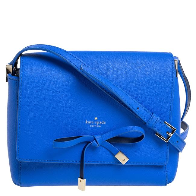 Item - Blue Leather Bow Flap Shoulder Bag