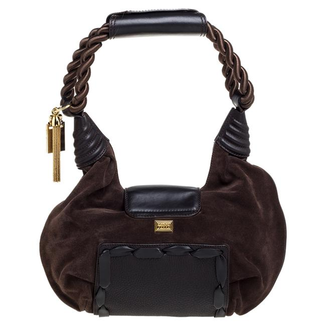 Item - Brown Suede and Leather Braided Handle Hobo Bag