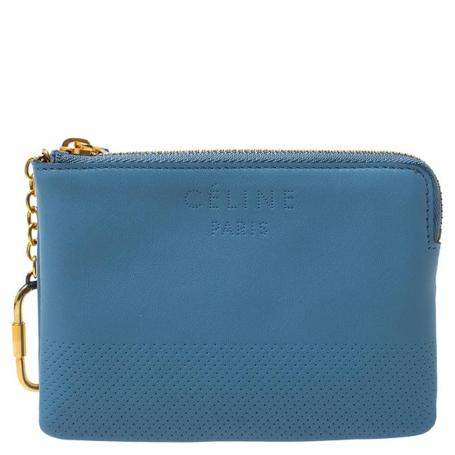 Item - Solo Blue Perforated Leather Coin Purse Wallet