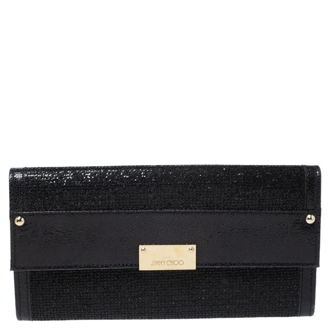 Item - Black Leather and Glitter Reese Clutch