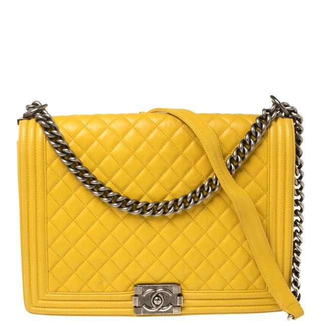 Item - Classic Flap Boy Yellow Quilted Leather Large Shoulder Bag