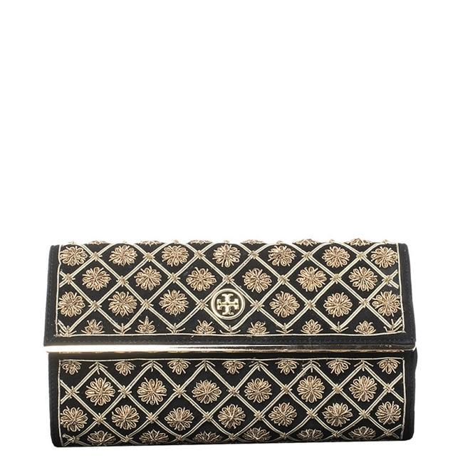 Item - Black Quilted Suede Bria Embellished Flap Clutch