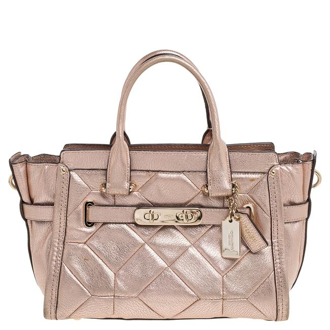 Item - Carryall Swagger Metallic Rose Gold Leather 27 Tote Satchel