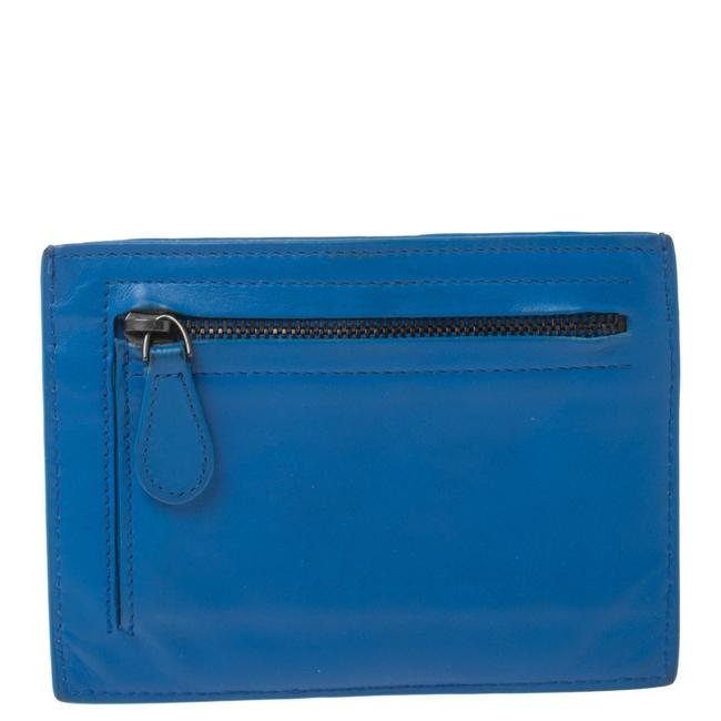 Item - Blue Intrecciato Leather Card Holder Wallet