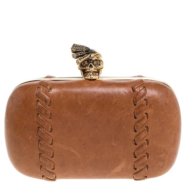 Item - Box Brown Leather Skull Clutch