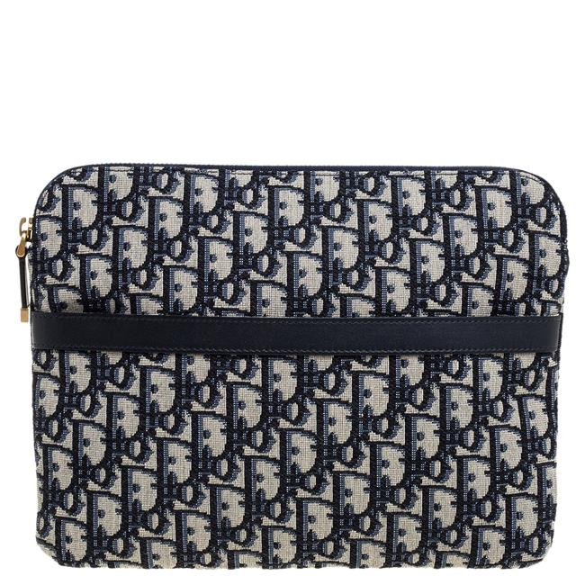 Item - Navy Blue Oblique Canvas and Leather Travel Kit Pouch Tech Accessory