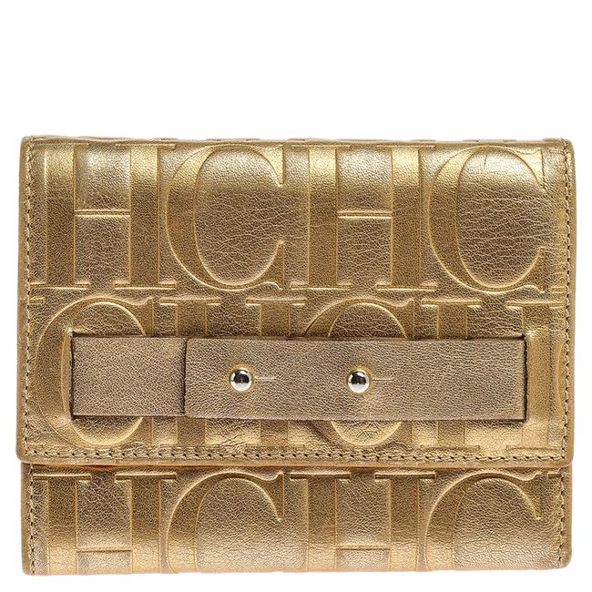 CH Carolina Herrera Metallic Gold Monogram Leather Trifold Wallet CH Carolina Herrera Metallic Gold Monogram Leather Trifold Wallet Image 1