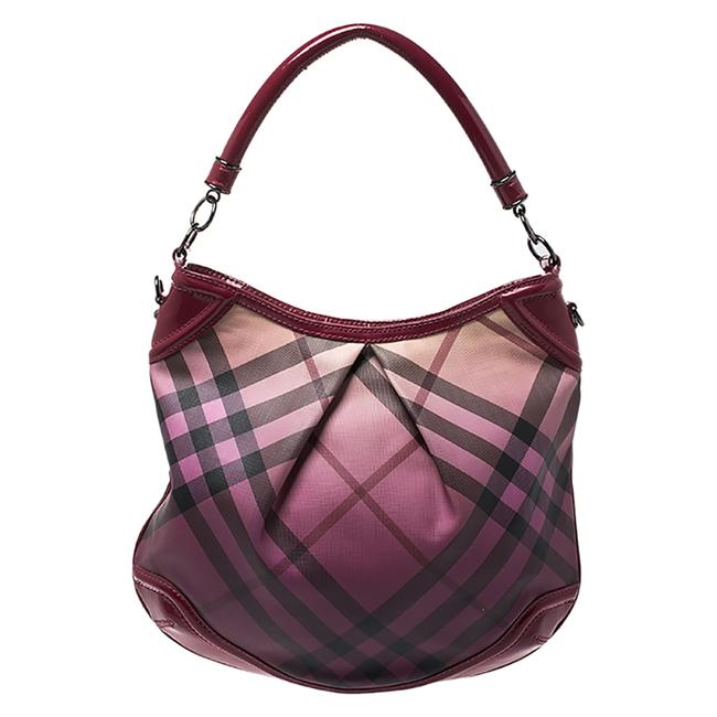 Item - Raspberry Gradient Supernova Check Coated Canvas and Patent Leather Hobo Bag