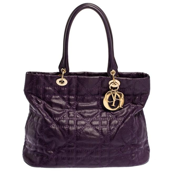 Item - Lady Purple Cannage Quilted Coated Canvas and Leather Tote