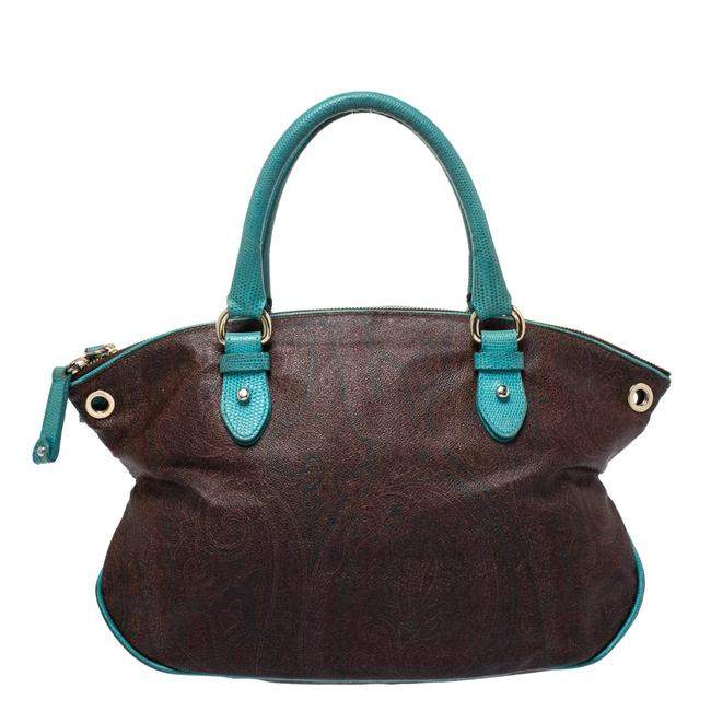 Item - Turquoise/Brown Paisley Coated Canvas Convertible Shoulder Bag