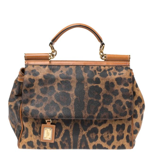Item - Top Handle Bag Dolce & Gabbana Brown Leopard Print Coated Canvas and Leather Large Miss Sicily Wristlet