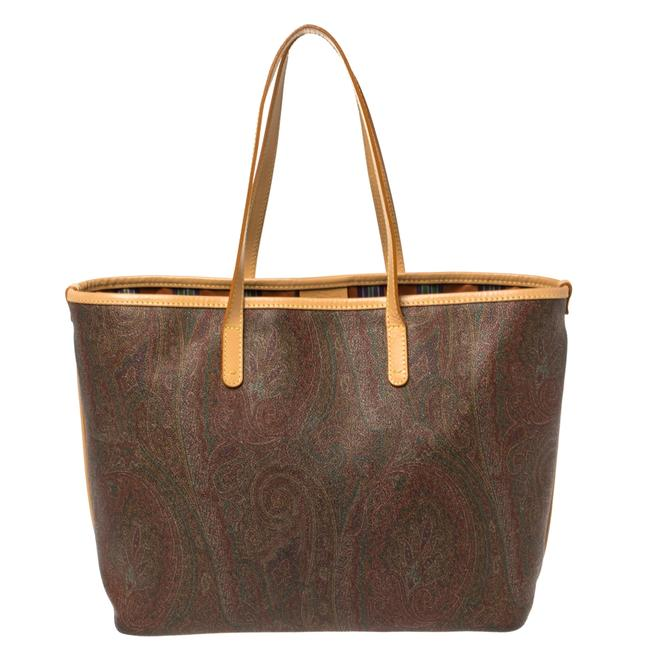 Item - Brown Paisley Printed Coated Canvas and Leather Shopper Tote