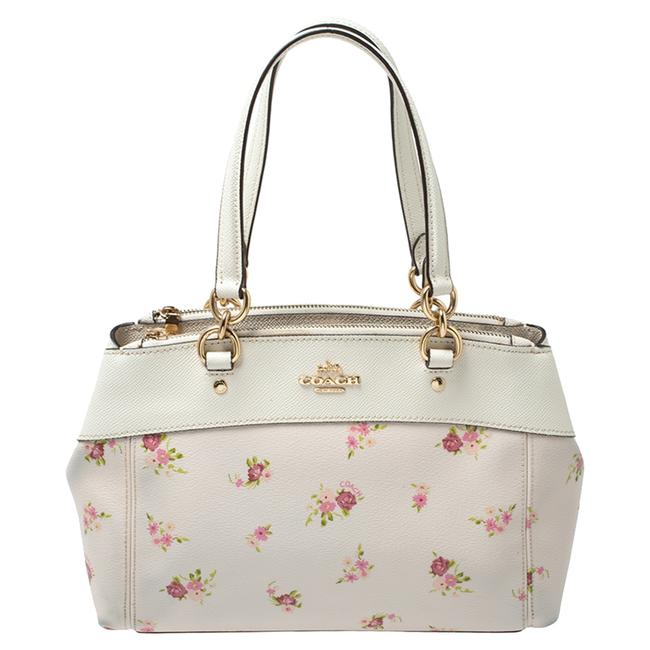 Item - Carryall White Daisy Print Coated Canvas and Leather Mini Brooke Satchel