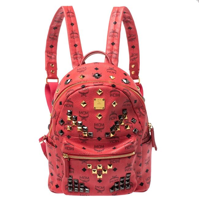 Item - Visetos Coated Canvas and Leather Small Studs Stark Backpack
