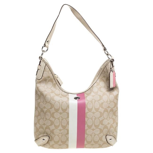 Item - Beige/Cream Signature Coated Canvas and Leather Hobo Bag