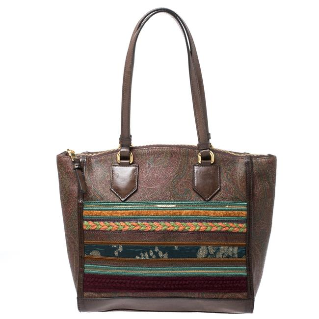 Item - Brown Paisley Print Coated Canvas Embroidered Tote