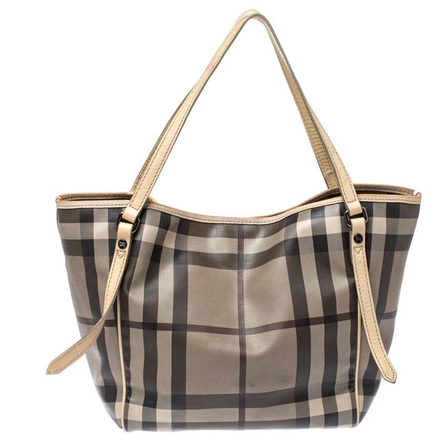 Item - Brown/Smoke House Check Coated Canvas and Leather Small Canterbury Tote