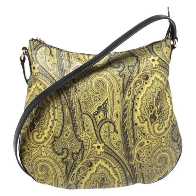 Item - Crossbody Green/Yellow Paisley Print Coated Canvas and Leather Shoulder Bag