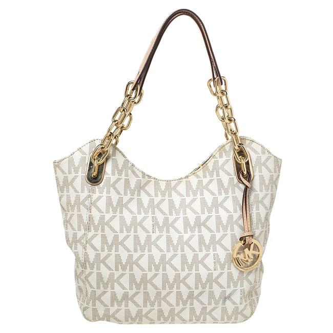 Item - Shoulder Bag Cream Coated Canvas and Leather Jet Set Travel Chain Tote