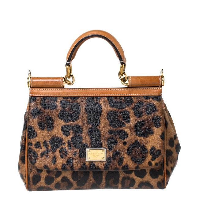 Item - Top Handle Bag Dolce & Gabbana Brown Leopard Print Coated Canvas and Leather Miss Sicily Wristlet