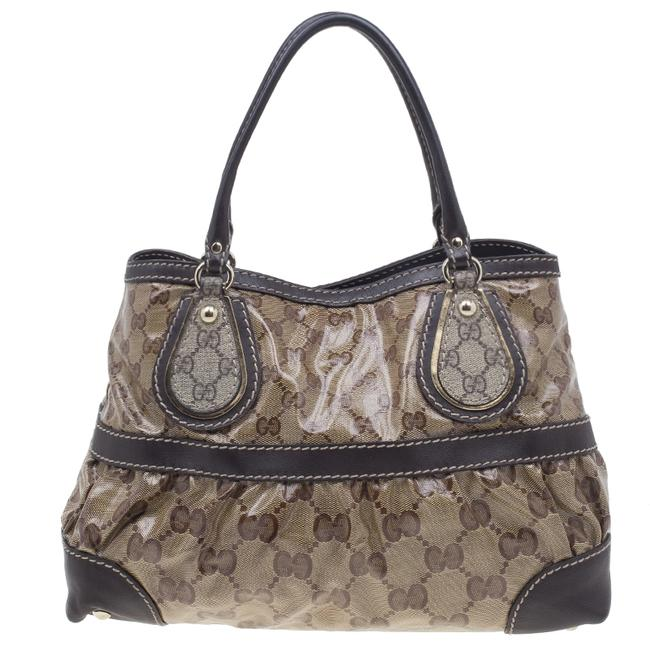 Item - Brown Coated Canvas Monogram Crytal Mix Tote Wristlet