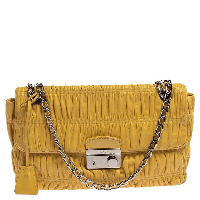 Item - Yellow Nappa Gaufre Leather Chain Flap Shoulder Bag